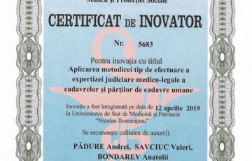 <div align='justify><font' size='3><b>4.10.2019.' Activitatea fructuoasă a angajaților Centrului de Medicină Legală a fost înalt apreciată prin acordarea a 14 certificate de inovator privind elaborarea și implementarea Metodicilor tip de efectuare a expertizei judiciare la diferite specialități.